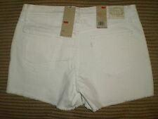 Levis Mid Rise Cut Off Shorts White Stretch Denim Jeans Womens Size 14 | 16 NEW