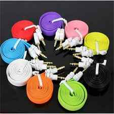 Fashion Male to Male Flat Audio Stereo Aux Extension Cable Cord For PC iPhone