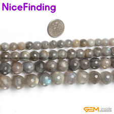 """6,8,10,12mm Natural Faceted Labradorite Round Beads For Jewelry Making Strand15"""""""