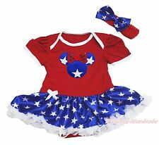 4th July Girls Red Bodysuit Patriotic Star Minnie Baby Dress Outfit Set NB-18M