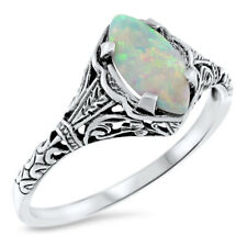 WHITE LAB OPAL 925 STERLING SILVER ANTIQUE FILIGREE DESIGN RING,            #630