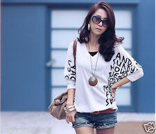 Women Casual Letter 3/4 Batty Sleeve V-neck Top T-shirt