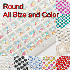 (Small Qty) Glass Round 3200 All Size Color Crystal Flatback Sew On Rhinestones