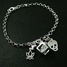 Sterling Silver Charm Bracelet - Rolo Charm Bracelet Chain - Made in  Italy