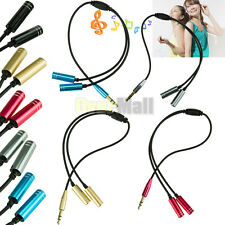 3.5mm 1 Male to 2 Female Earphone Headphone Audio Extension Y Splitter Cable #2