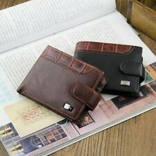 Brown/Black Men Bifold Wallet PU Leather Credit/ID Card Coin Holder Buckle Purse