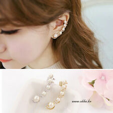 Girl's Gold/Silver Plated Ear Hook Chic Crystal Rhinestone Ear Stud Clip Earring