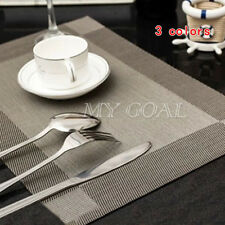 Set of 4 Vinyl Dining Table Place Mats Pad Weave Woven Effect Modern Restaurant