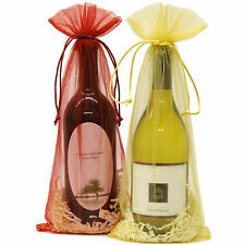"20 Designer Wine Organza Fabric Gift Bags Party Gift Bags Large 15"" By 6.5"""