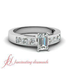Engagement Ring 1.55 Ct Emerald Cut Diamond Six Stone Cathedral Channel Set GIA