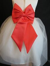 INFANT PALM BEACH CORAL WEDDING FLOWER GIRL SASH TIE BOW 6 9 12 18 MONTH