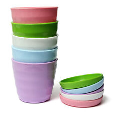 Round Colorful Plastic Flower Planter Pots With Tray Home Office Garden Decor