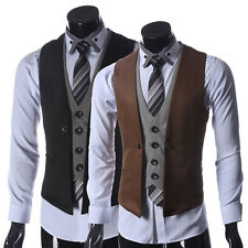 Mens Business Slim Fitted Waistcoat Dress Casual Fashion V-neck Vest Coats Suits