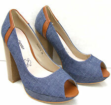 ♥WOMENS LADIES GIRLS DENIM JEANS LEATHER INSOLE HIGH HEELS PATFORM SHOES SANDALS