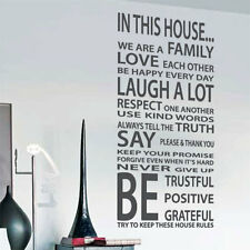 Family House Rules Love Art  Wall Quote Stickers Wall Decals Words Lettering bn
