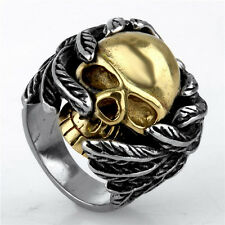 SZ 8 to 14 Gold Skull Feather Wing 316L Mens Boys Stainless Steel Biker Ring