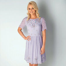 Womens Frock And Frill Embellished Skater Dress In Lilac Celebrity Style