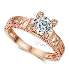 Fashion Eiffel Tower Wedding Ring  Austrian Crystal 18K Gold Plated Jewelry