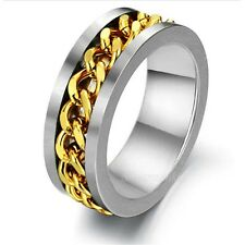 Free Shipping Men Women Silver Gold Chain Center Stainless Steel Ring SZ 7-12