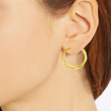14k Yellow Gold Polished Round Tubular Hoop Earrings 4mm x (25mm,30mm,40mm)