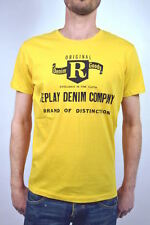 """new! REPLAY men'S T-SHIRT yellow M6018 """"Replay DENIM COMPANY"""" Size S / size L"""