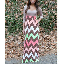 Women Chevron Day Casual Long Stretch Bodycon Evening Prom Party Maxi Gown Dress
