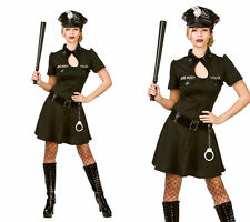 Police Officer Costume Ladies Police Woman Fancy Dress Outfit + Hat 6/20