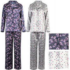 Ladies Womens Satin Pyjamas Floral Spots PJ pajamas nightwear silky pjs ex store