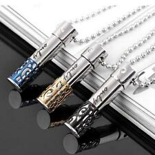 Stainless Steel BULLET Pill Ash Holder Memorial Cremation  Pendant Necklace XG