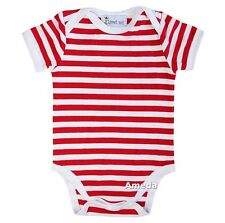 Baby Red White Stripes 4th July Boy Girl Bodysuit Romper 0-12M