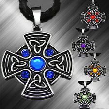 Men Celtic Purple/Bule/Red/Yellow/Green Sun Cross Pewter Pendant Free Necklace