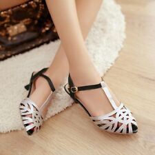 Womens Roman Hollow Out Low Heels Pee Toe T-Bars Slingback Sexy Sandals Shoes
