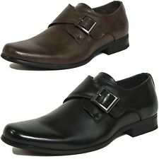 Mens Monk Strap Loafers Suede Lined Metal Buckle Slip On Casual Dress Shoes New