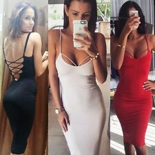 2015 New Women Sexy Backless Bandage Bodycon Pencil Party Cocktail Evening Dress