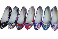 Women Fashion Floral Style Slip On Casual Canvas Shoes Ballet Flat Loafers Shoes