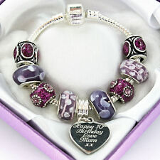 Personalised ENGRAVED Charm Bracelet ANY MESSAGE Purple Beads Birthday Gift Box