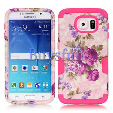 Flower Style Rugged Grey Rubber Cover Case For Samsung Galaxy S6