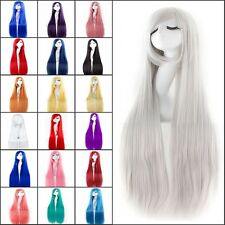 80/100CM Long Straight Fashion Cosplay Party Women Lady Full Wig + Free Wig Cap