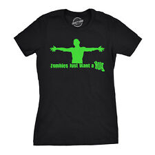 Women's Zombies Just Want a Hug T Shirt Funny Zombie Tee for Women