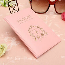 New Fashion Simple Passport ID Card Cover Holder Case Skin Pink Women