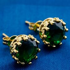 Noble Round Cubic Zircon Design Yellow Gold Filled Women Lady Stud Earrings