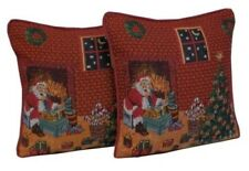 Festive Red Christmas Xmas Santa Tapestry Filled Cushion or cushion Cover