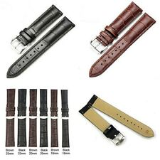 Unisex Fashion PU Leather Black Brown Watch Strap Band Womens Mens Durable