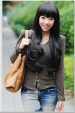 New Ladys Fashion Long Curly Wig Cosplay Full Heat Resistant Wigs Black/Brown