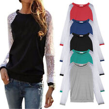 New Womens Ladies Lace Long Sleeve Summer Loose Casual Tops T-shirt Tunic Blouse