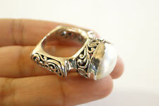 White Mother of Pearl Ornate Balinese Bali 925 Sterling Silver Ring 7, 7 1/2