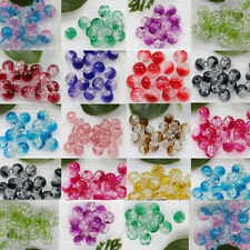 Round Clear Crackle Crystal Glass High Quality Bead 8mm Jewelry Finding