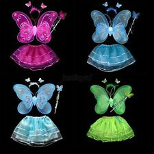 Butterfly Wing Wand Headband Tutu Skirt Cosplay Costume For Fairy Girl Kid J30