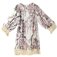 New Women Blouse Loose Lace Floral Chiffon Kimono Cardigan Summer Cover Up Coat
