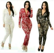 Ladies V-Neck Long-Sleeve Lace Hollow Punk Sexy Nightclub Jumpsuits Catsuit Size